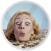 1960s Blond Woman Funny Facial Round Beach Towel