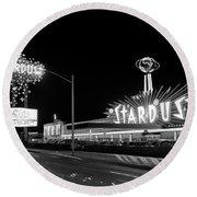 1960s Night Scene Of The Stardust Round Beach Towel