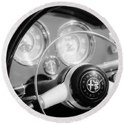 1961 Alfa Romeo Giulietta Spider Steering Wheel Emblem -1239bw Round Beach Towel