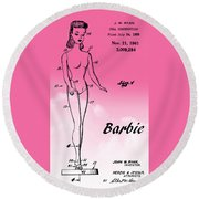 1961 Barbie Doll Patent Art 2 Round Beach Towel