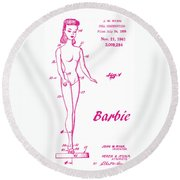 1961 Barbie Doll Patent Art 3 Round Beach Towel
