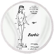 1961 Barbie Doll Patent Art 4 Round Beach Towel