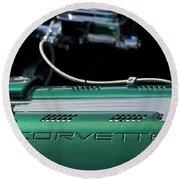 1961 Chevrolet Corvette Engine Round Beach Towel