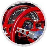 1961 Chevrolet Corvette Steering Wheel 2 Round Beach Towel
