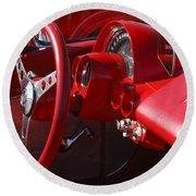 1961 Chevrolet Corvette Steering Wheel Round Beach Towel