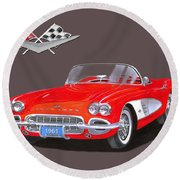 1961 Corvette Convertible Round Beach Towel