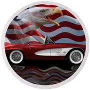 1961 Corvette Tribute Round Beach Towel