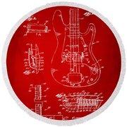 1961 Fender Guitar Patent Artwork - Red Round Beach Towel
