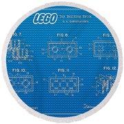 1961 Lego Building Blocks Patent Art 1 Round Beach Towel