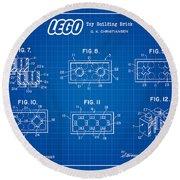 1961 Lego Building Blocks Patent Art 4 Round Beach Towel