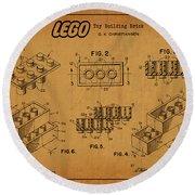 1961 Lego Building Blocks Patent Art 5 Round Beach Towel