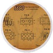 1961 Lego Building Blocks Patent Art 6 Round Beach Towel