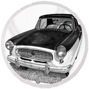 1961 Nash Metro In Black White Round Beach Towel