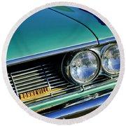 1961 Pontiac Bonneville Grille Emblem Round Beach Towel
