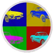 1962 Chevrolet Corvette Convertible Pop Art Round Beach Towel