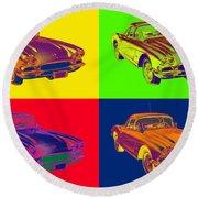 1962 Chevrolet Corvette Pop Art Round Beach Towel