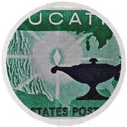 1962 Higher Education Stamp Round Beach Towel