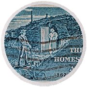 1962 Homestead Act Stamp Round Beach Towel