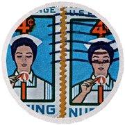 1962 Nursing Stamp Collage Round Beach Towel