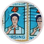 1962 Nursing Stamp Collage - Oakland Ca Postmark Round Beach Towel