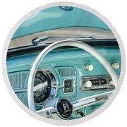 1962 Volkswagen Vw Beetle Cabriolet Steering Wheel Round Beach Towel