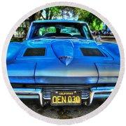 1963 Blue Corvette Stingray-front View Round Beach Towel