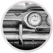 1963 Chevrolet Corvair Monza Spyder Headlight Emblem -0594bw Round Beach Towel