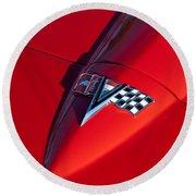 1963 Chevrolet Corvette Hood Emblem Round Beach Towel