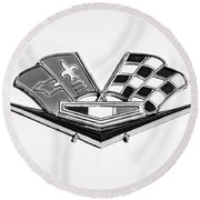 1963 Chevrolet Corvette Split Window Emblem -030bw Round Beach Towel