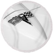 1963 Chevrolet Corvette Split Window Emblem -121bw Round Beach Towel