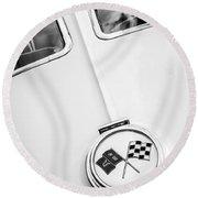 1963 Chevrolet Corvette Split Window Emblem -445bw Round Beach Towel