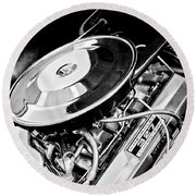 1963 Chevrolet Corvette Split Window Engine -147bw Round Beach Towel