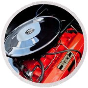 1963 Chevrolet Corvette Split Window Engine -147c Round Beach Towel