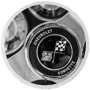 1963 Chevrolet Corvette Split Window Steering Wheel Emblem -170bw Round Beach Towel