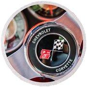 1963 Chevrolet Corvette Split Window Steering Wheel Emblem -170c Round Beach Towel