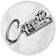 1963 Chevrolet Corvette Split Window - Sting Ray Emblem -248bw Round Beach Towel
