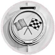 1963 Chevrolet Corvette Split Window - Sting Ray Emblem -257bw Round Beach Towel