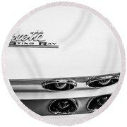 1963 Chevrolet Corvette Split Window Taillight Emblem -458bw Round Beach Towel