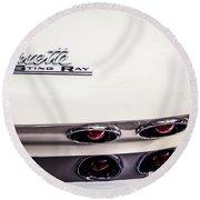1963 Chevrolet Corvette Split Window Taillight Emblem -458c Round Beach Towel