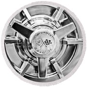 1963 Chevrolet Corvette Split Window Wheel -111bw Round Beach Towel