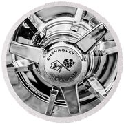 1963 Chevrolet Corvette Split Window Wheel Emblem -478bw Round Beach Towel