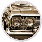 1963 Chevrolet Impala Ss In Sepia Round Beach Towel