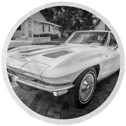 1963 Chevy Corvette Coupe Painted Bw    Round Beach Towel