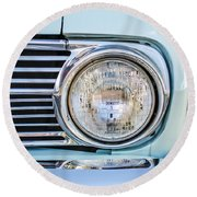 1963 Ford Falcon Futura Convertible Headlight - Hood Ornament Round Beach Towel