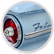 1963 Ford Falcon Futura Convertible Taillight Emblem Round Beach Towel by Jill Reger
