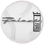 1963 Ford Galaxie 500 R-code Factory Lightweight Emblem Round Beach Towel