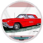 1963 Ford Thunderbird Round Beach Towel by Jack Pumphrey
