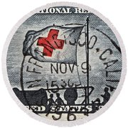 1963 Red Cross Stamp - San Francisco Postmark Round Beach Towel