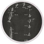 1963 Space Capsule Patent Gray Round Beach Towel