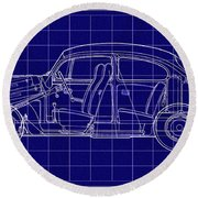 1963 Volkswagon Beetle Blueprint Round Beach Towel